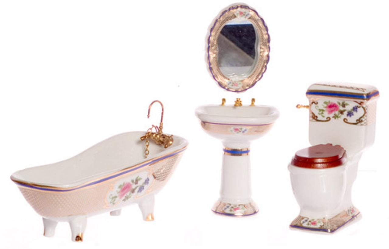 Bath Set - Gold and Floral Trim