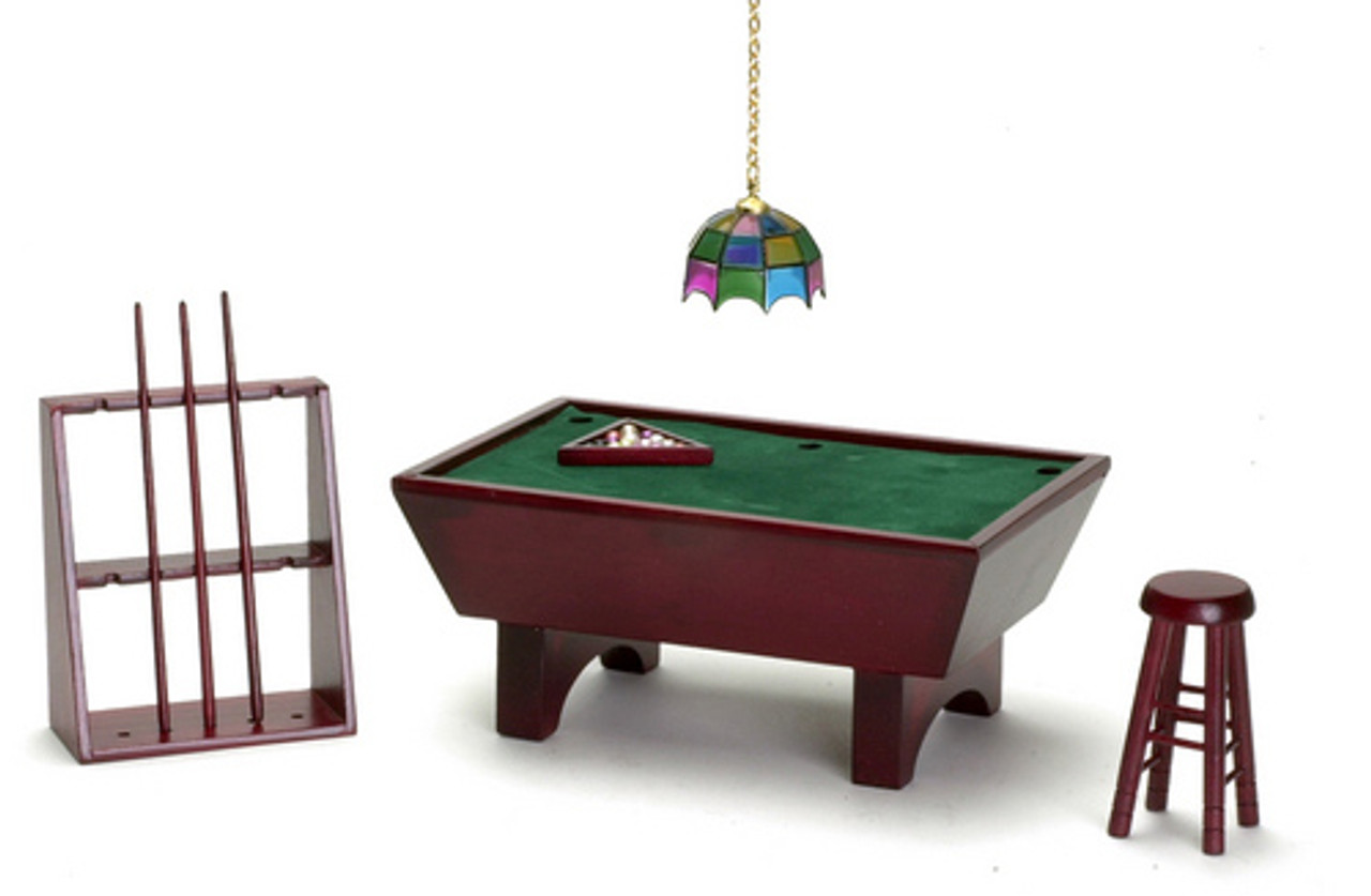 Dollhouse City - Dollhouse Miniatures Pool Table Set - Mahogany