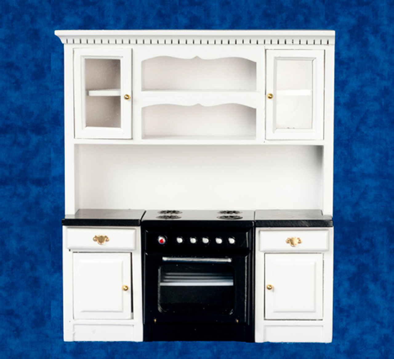 Kitchen Stove in Counter with Cabinet - White