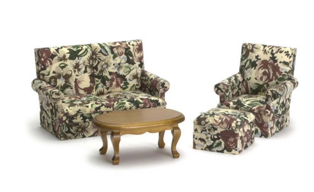 Brown Floral Living Room Set  - Walnut