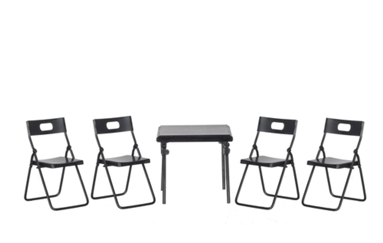 Folding Table and Chairs - Black