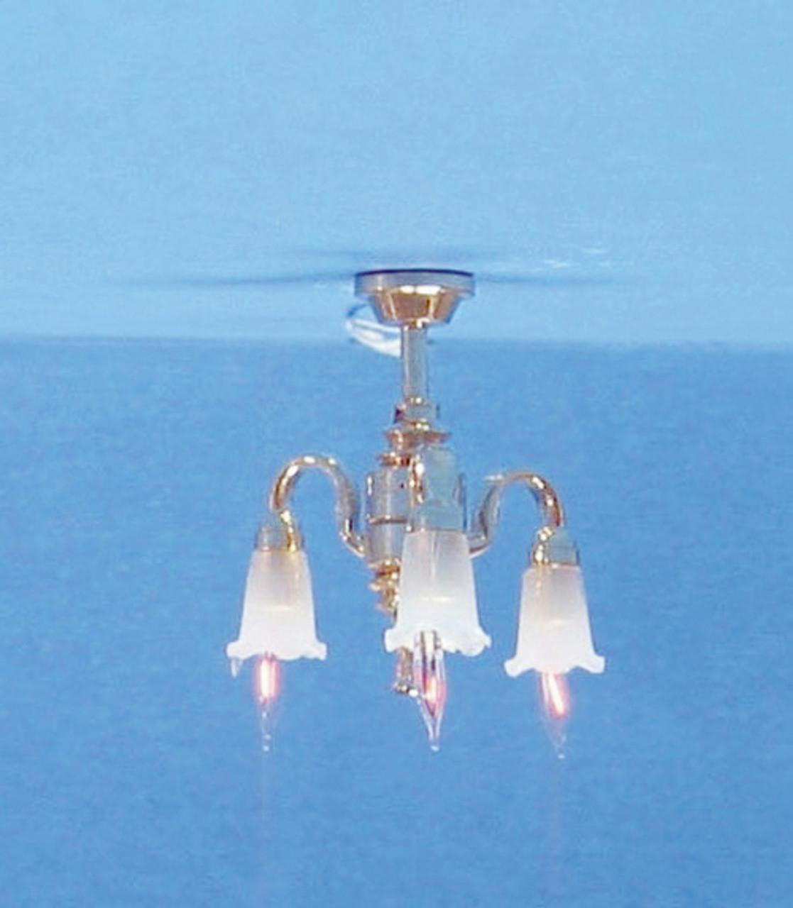 Dollhouse City - Dollhouse Miniatures 3-Down Arm Tulip Chandelier