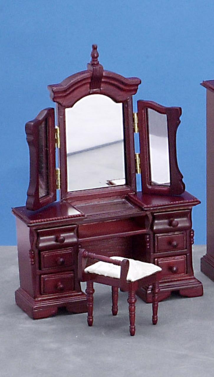 Vanity with Mirror and Stool - Mahogany