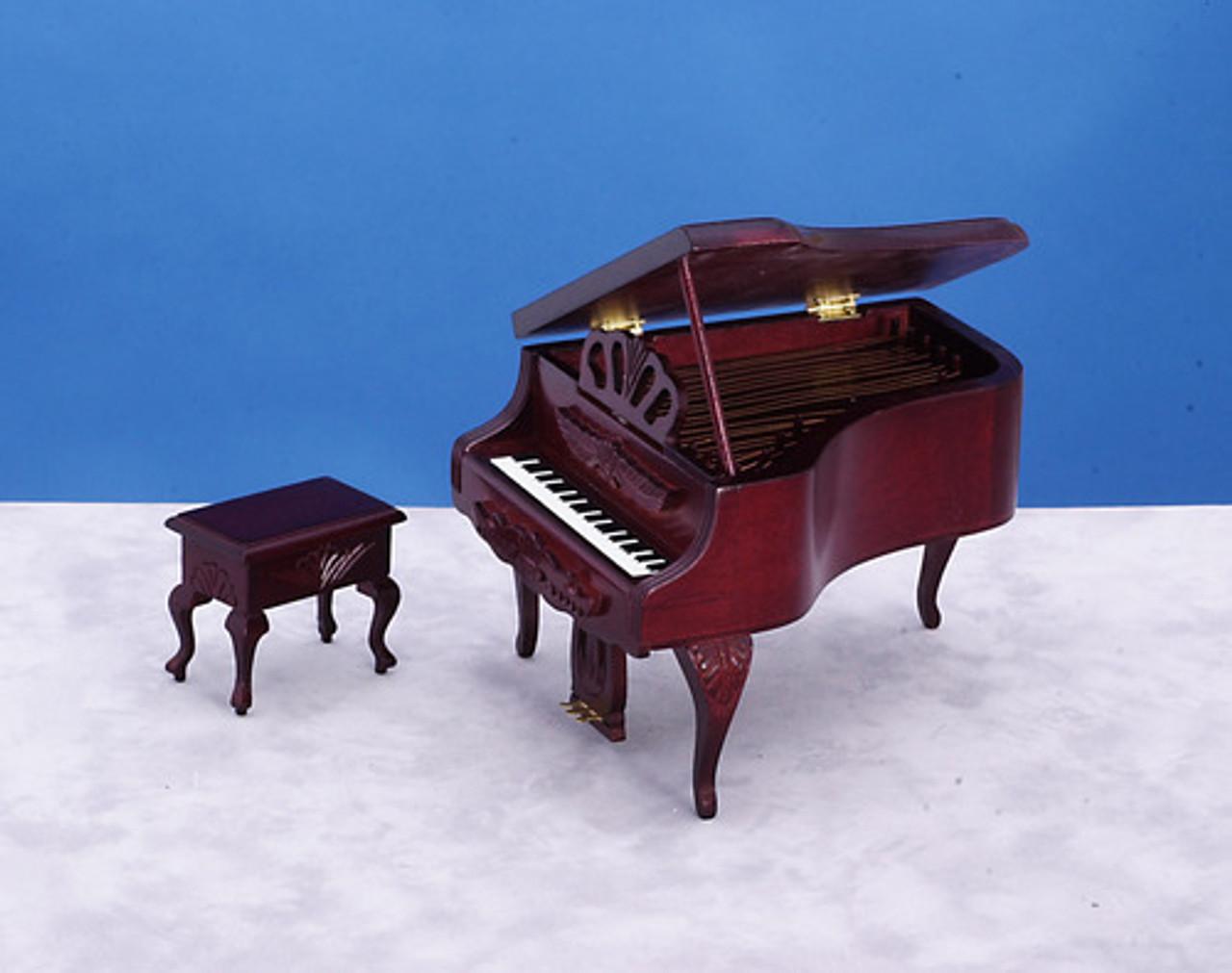 Carved Piano with Stool - Mahogany