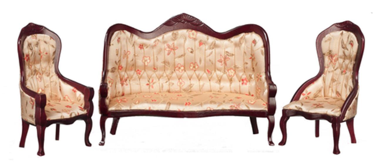 Victorian Living Room Set - Floral and Mahogany
