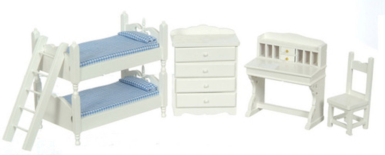 Bunk Bed Set with Blue Fabric