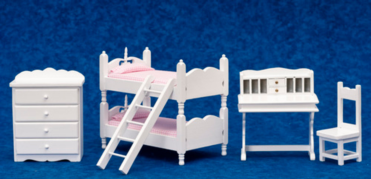 Bunk Bed Set with Pink Fabric - White