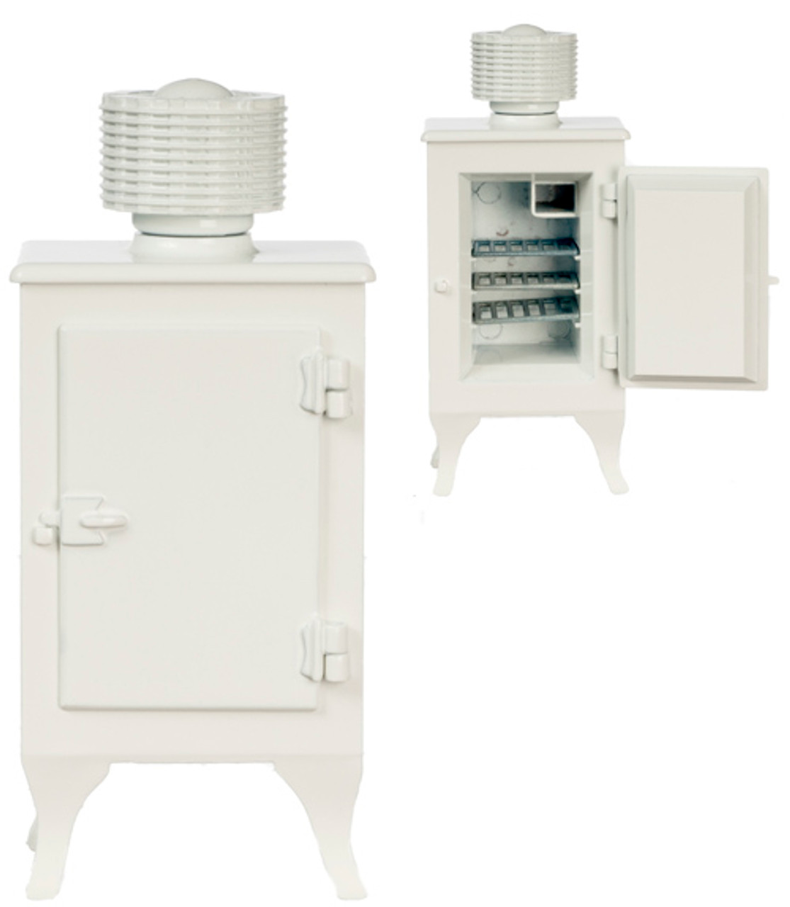 Dollhouse City - Dollhouse Miniatures Monitor Top Refrigerator - Metal and White