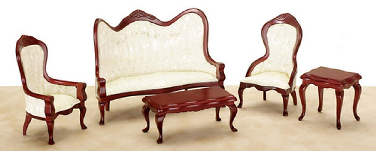 Victorian Living Room Set - White and Mahogany