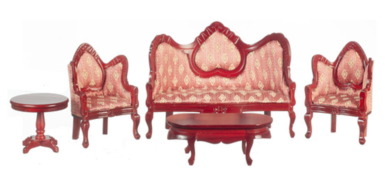 Victorian Living Room Set - Rose and Mahogany