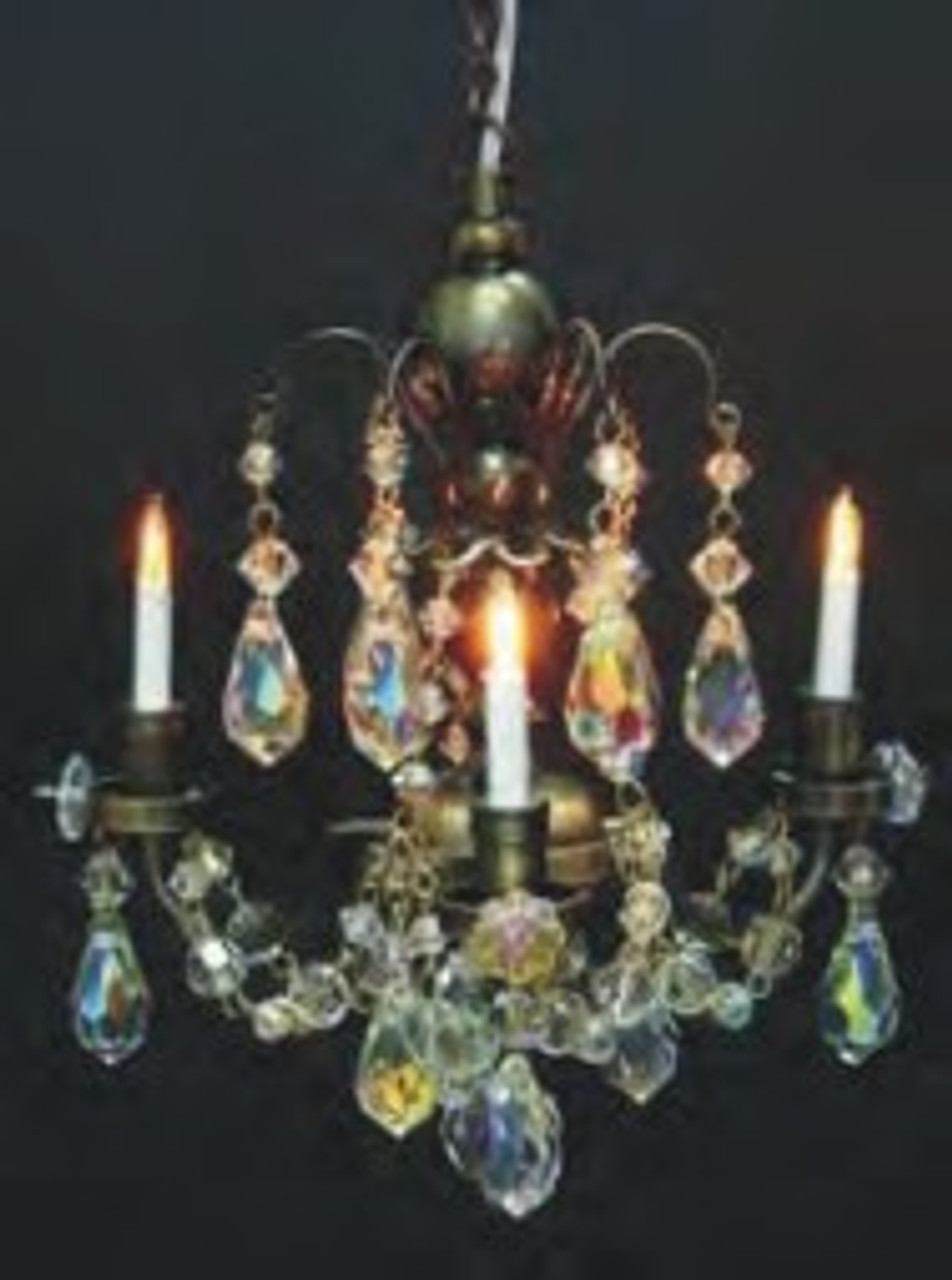 3-Arm Crystal Chandelier