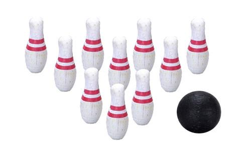 10 Bowling Pins and Ball