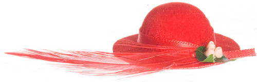 Lady's Hat with Feather - Red