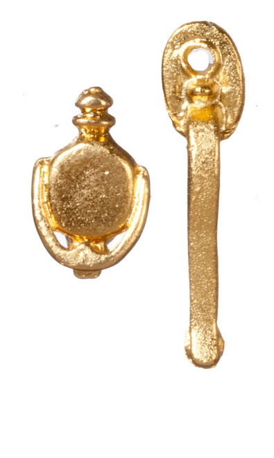 Dollhouse City - Dollhouse Miniatures Door Handle and Knocker - Brass