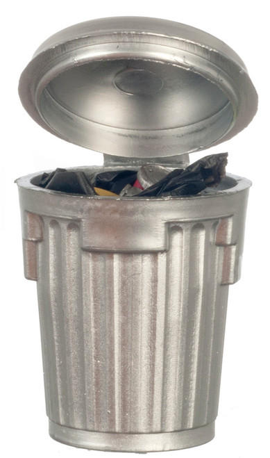 Silver Garbage Can - Filled