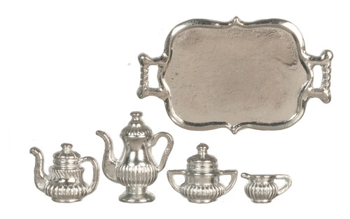 Dollhouse City - Dollhouse Miniatures Tea Set with Tray - Silver