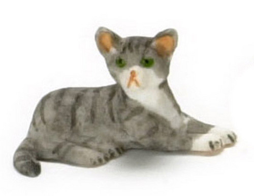 Dollhouse City - Dollhouse Miniatures Kitten - Grey