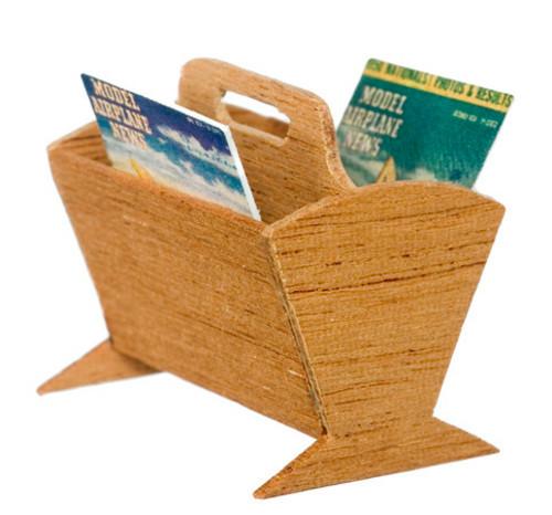 Magazine Rack with Magazines - Mahogany Finish