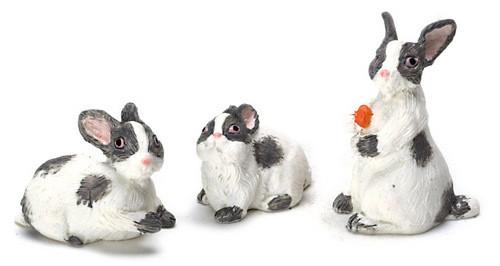 Dollhouse City - Dollhouse Miniatures Rabbit Set - Grey and White