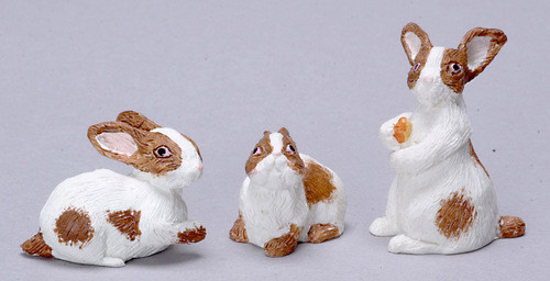 Dollhouse City - Dollhouse Miniatures Rabbit Set - Brown and White