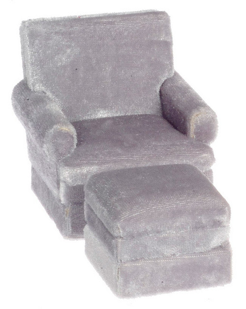 Traditional Chair and Ottoman - Gray and Walnut