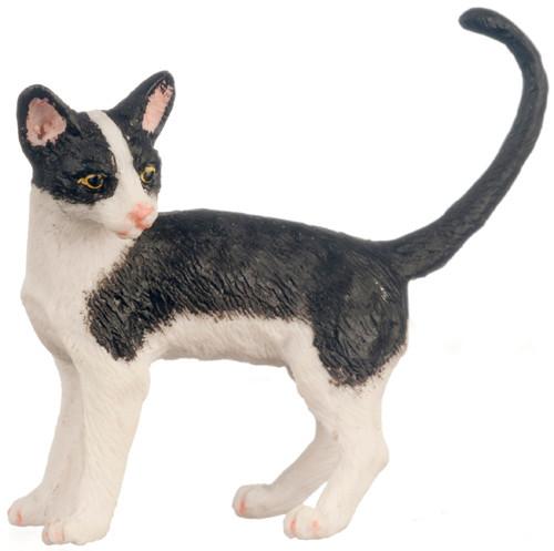 Dollhouse City - Dollhouse Miniatures Cat - Black and White