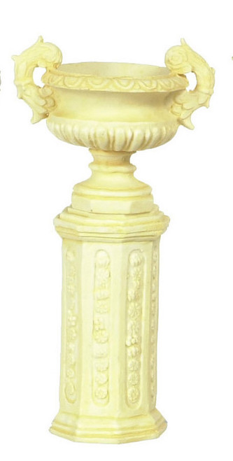 Dollhouse City - Dollhouse Miniatures Ancient Urn with Base Set - Ivory