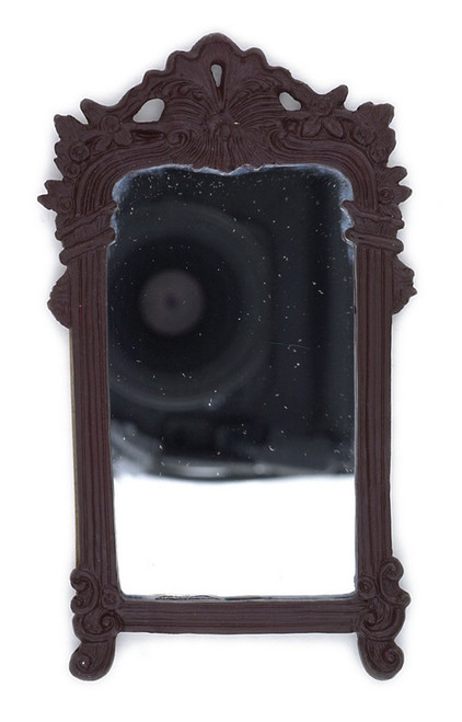 Dollhouse City - Dollhouse Miniatures Mirror in Frame - Large and Mahogany
