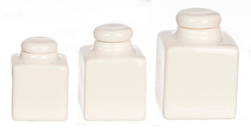 Dollhouse City - Dollhouse Miniatures Square Canister Set - White