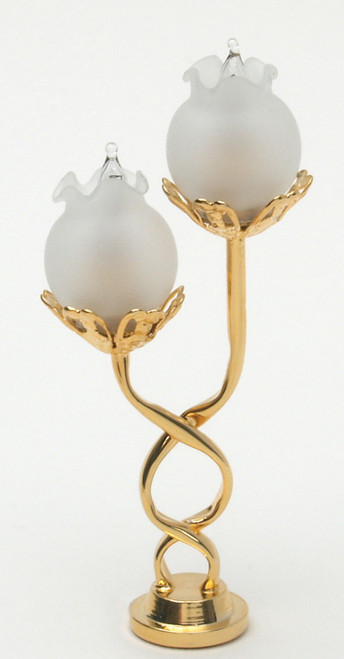 Twisted Lamp - Frosted Floral Shades