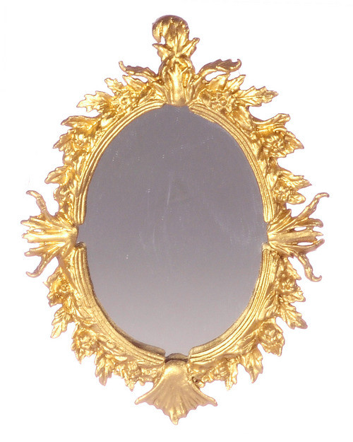 Dollhouse City - Dollhouse Miniatures Antique Mirror - Oval and Gold