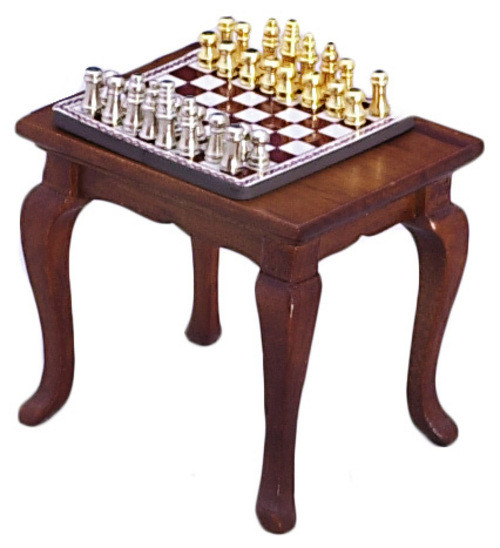 Chess Table and Set - Walnut