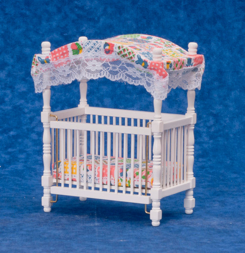 Dollhouse City - Dollhouse Miniatures Canopy Crib - White