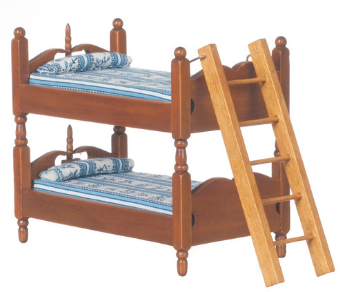 Bunk Beds with Ladder - Blue and Walnut