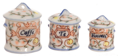 Dollhouse City - Dollhouse Miniatures Round Canister Set - Handpainted