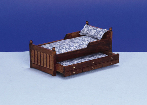 Trundle Bed - Blue and Walnut