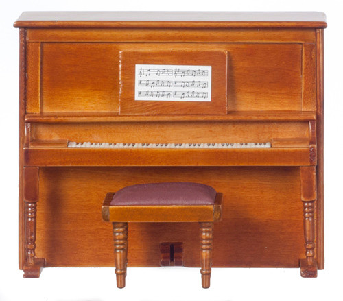 Dollhouse City - Dollhouse Miniatures Piano Non Musical with Bench - Walnut
