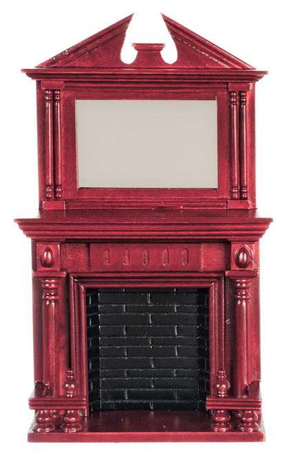 Dollhouse City - Dollhouse Miniatures Fireplce with Mirror - Mahogany