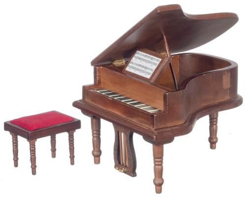 Dollhouse City - Dollhouse Miniatures Baby Grand Piano With Stool - Walnut