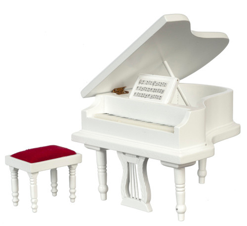 Piano with Bench - White