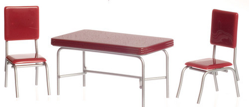 1950's Table and 2 Chairs - Red