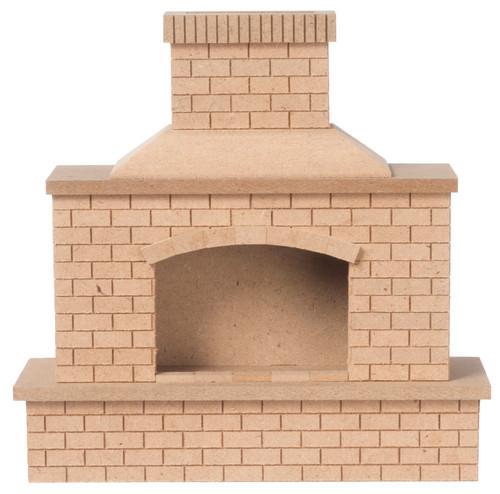 Wood Brick OUtdoor Fireplace