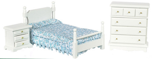 Bed Set - Pink Floral and White