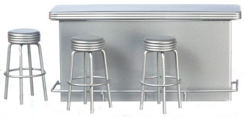 1950's Counter with 3 Stools - Silver