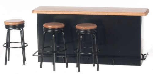 1950's Counter with Stools - Black and Oak