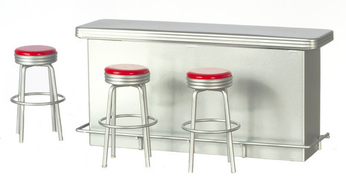 1950's Counter with 3 Stools - Red
