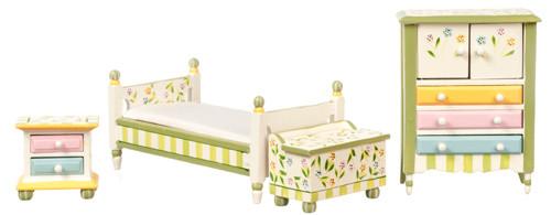 Dollhouse City - Dollhouse Miniatures Springtime Bedroom Set