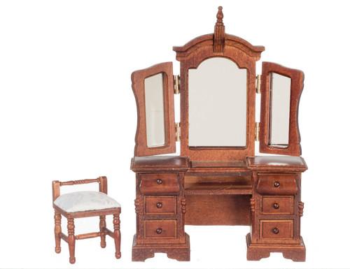 Vanity with Mirror and Stool - Walnut