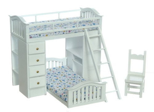 Bunk Bed Set with Desk and Chair - White