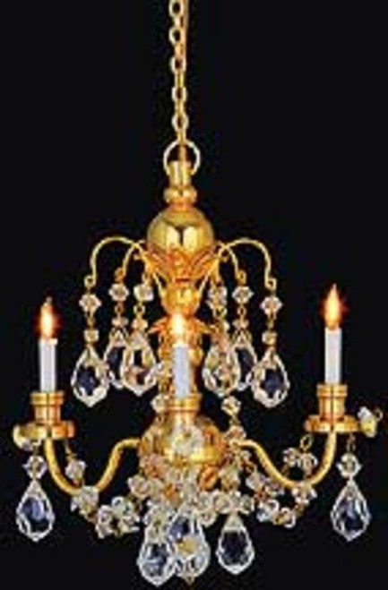 3-Arm Brass Crystal Chandelier